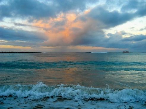 ocean sunset waves