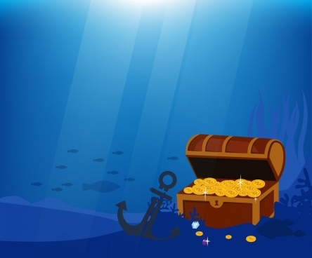 ocean treasure background dark blue design anchor icon