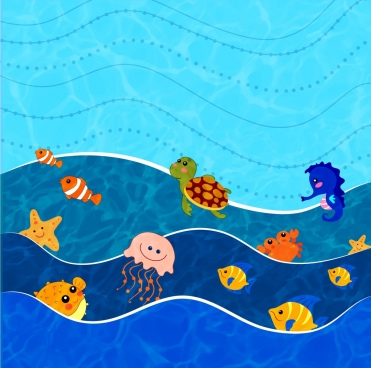 ocean world background various animals icons stylized cartoon