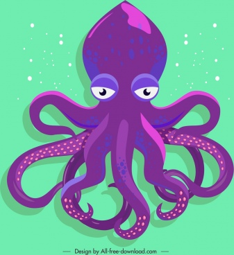 octopus animal painting violet cartoon sketch