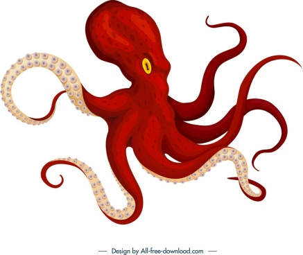 octopus icon 3d red outline