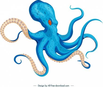 octopus icon blue 3d design