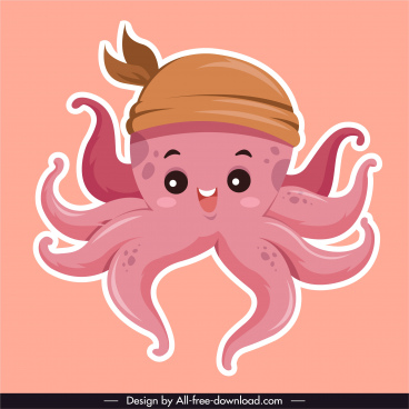 octopus icon cute cartoon character sketch