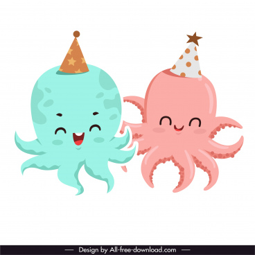 octopus icons cute stylized cartoon characters sketch