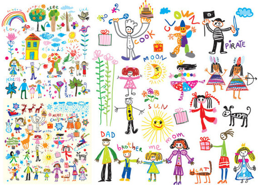 of happy children background vector art