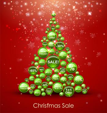 offbeat christmas tree design elements vector