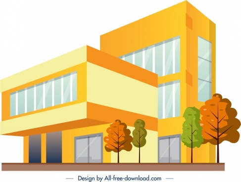 office building architecture sketch modern colored 3d design