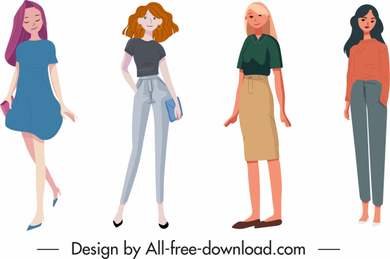 office fashion icons colored cartoon sketch modern design