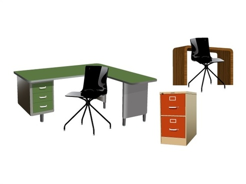 office furniture sets vector design on white background