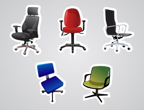 office chair icon modern colored 3d design