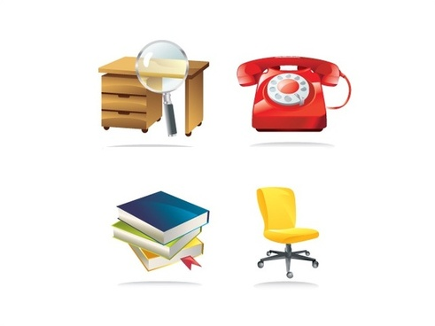 stationery icons vector illustration with color style