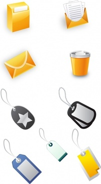 office objects icons modern 3d sketch