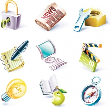 ui icons templates modern colored 3d design