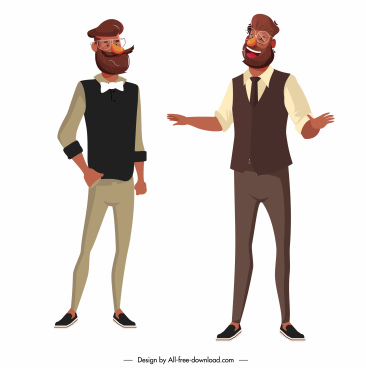office men icons elegant clothes standing gesture