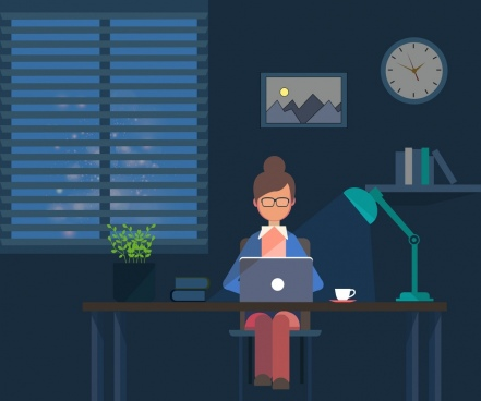 office place background working human icon night time