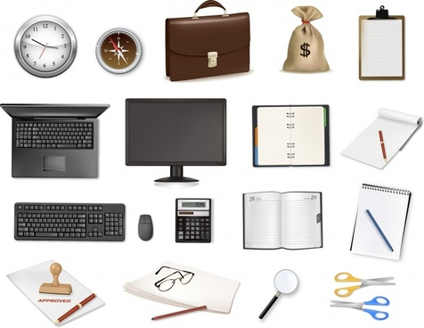 office icons modern object symbols sketch