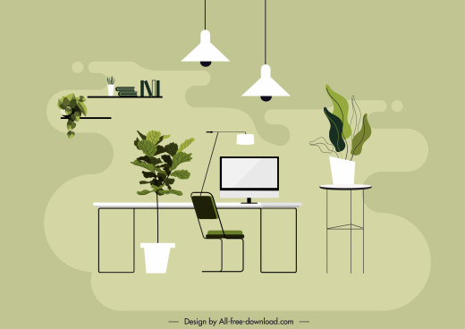 office space background colored flat sketch modern decor