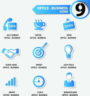 office stickers icons vector