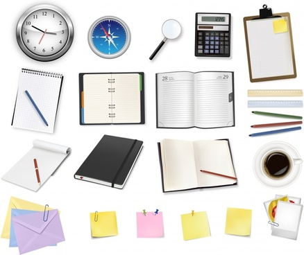 office stationary icons colored modern realistic design