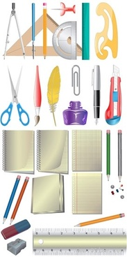 stationery icons colored modern design