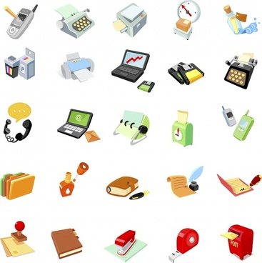 office stationary icons colored modern 3d sketch