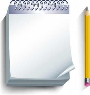 office supplies background notebook pencil icons realistic 3d