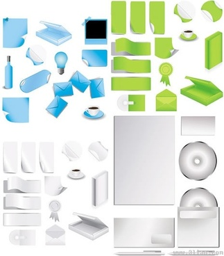 stationery icons modern 3d blank sketch