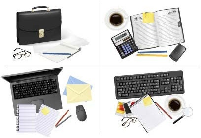 office supplies icons modern 3d flat objects sketch