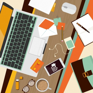 office work background messy desk tool objects icons