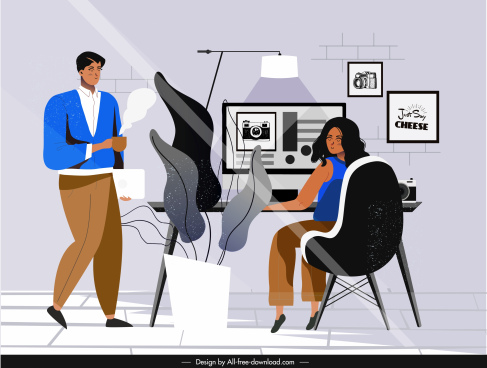 office work background staffs workdesk sketch cartoon design