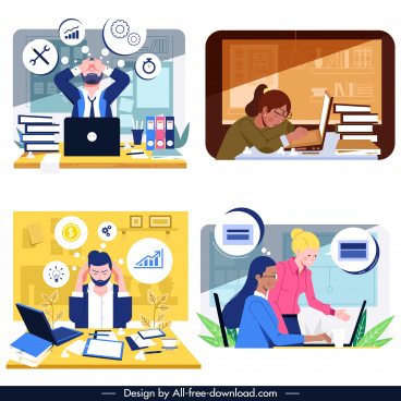 office work backgrounds workload sketch cartoon design
