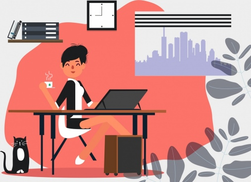 office work painting lady laptop icon colored cartoon