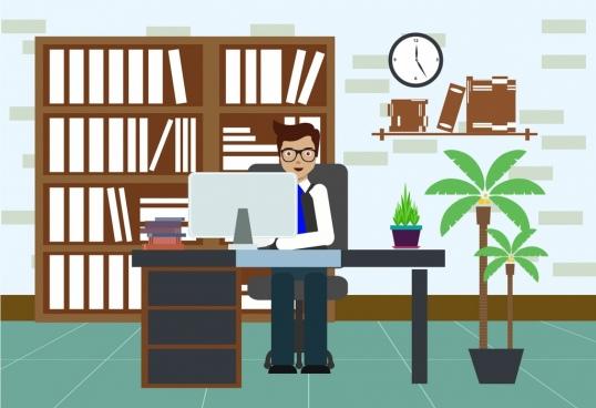 office workspace decor businessman icon colored cartoon