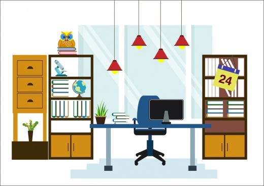 office workspace decoration shelf table hanging lights icons