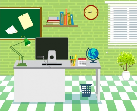 office workspace design green decoration 3d design