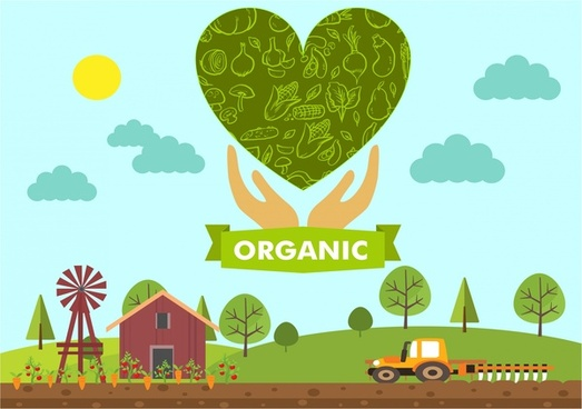 ogranic products banner symbol elements farm heart design