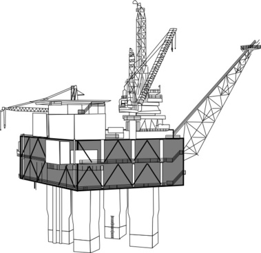 Oil Rig Black And White clip art