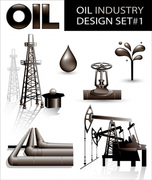 oil industry design elements modern 3d sketch