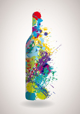 oil watercolor wine bottle background