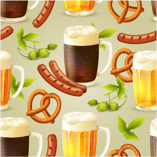 oktoberfest elements pattern seamless vector