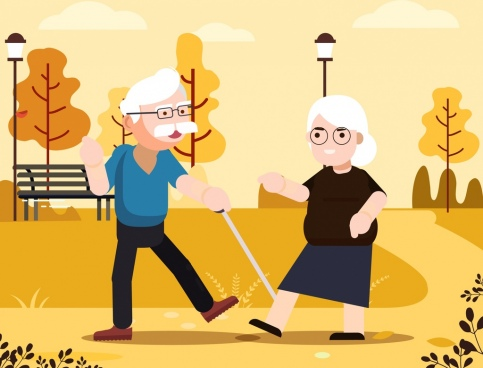 old age background couple park icons cartoon design