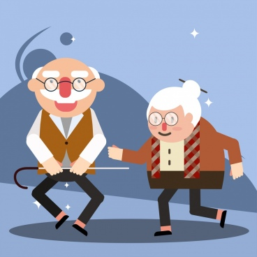 old age background funny couple icon cartoon characters