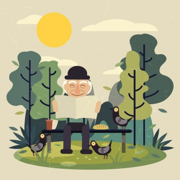 old age drawing elderly man icon colored cartoon