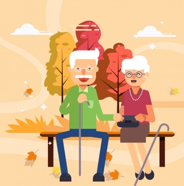 old age painting love couple icon cartoon design