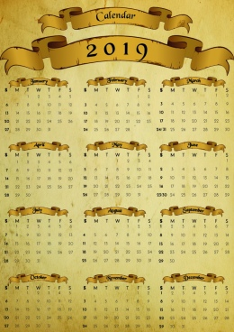 old antique paper calendar 2019