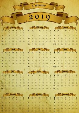old antique paper calendar 2019