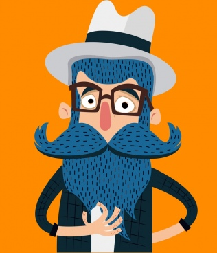 old beard moustache man icon colored cartoon design