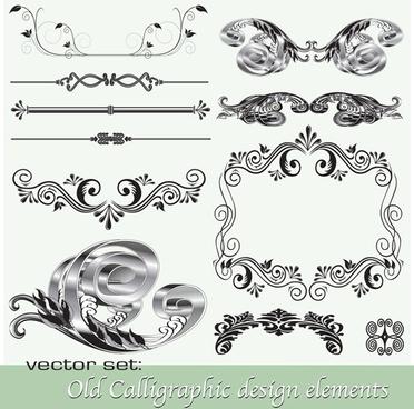 old calligraphic design elements vector set