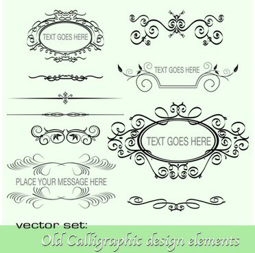 old calligraphic design elements vector set