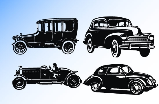 Old car silhouettes